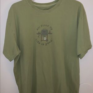 Life Is Good all fired up L Green short sleeve Tee